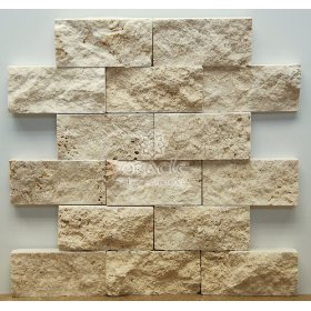 Face Travertine Mosaic Tile-Light 2 X 4 Split